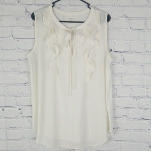 Loft off white sleeveless blouse /top